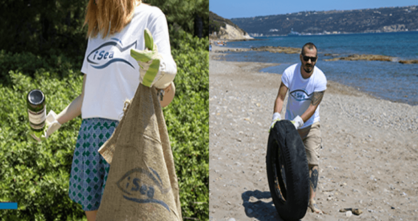isea.com.gr δράση στην παραλία, εθελοντές μαζεύουν σκουπίδια και λάστιχα στην παραλία | YouBeHero