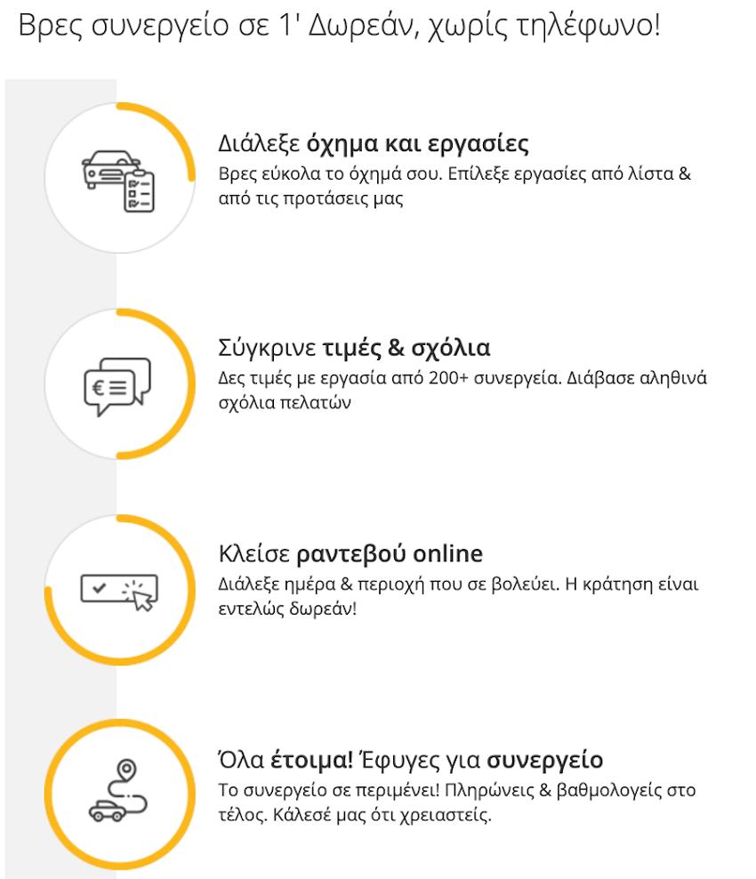 Στο autoduder.com διαλέγεις όχημα και εργασίες, συγκρίνεις τιμές και σχόλια, κλείνεις ραντεβού online, φεύγεις για το συνεργείο | YouBeHero