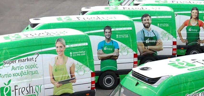Το online supermarket efresh διαθέτει μεγάλο στόλο απο φορτηγάκια μεταφοράς, για την άμεση εξυπηρέτησή σας! | YouBeHero