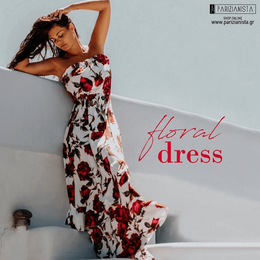 Maria Korinthiou in floral dress for Parizianista.gr | YouBeHero