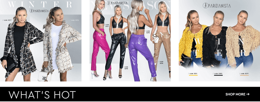 What's hot banner with new Parizianista clothes collection | YouBeHero