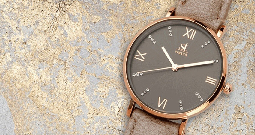ST WATCH Γυναικείο ρολόι ST WATCH, Brooklyn Crystals Brown Leather Strap 9149-2