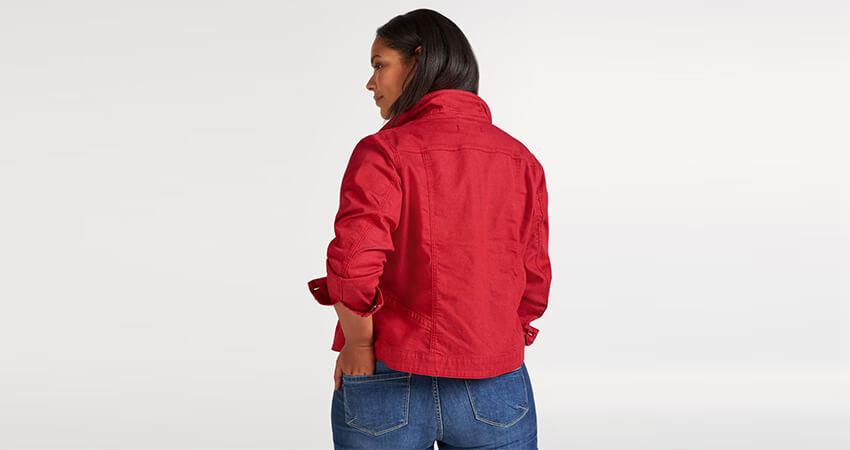Jean jacket σε denim κόκκινο χρώμα